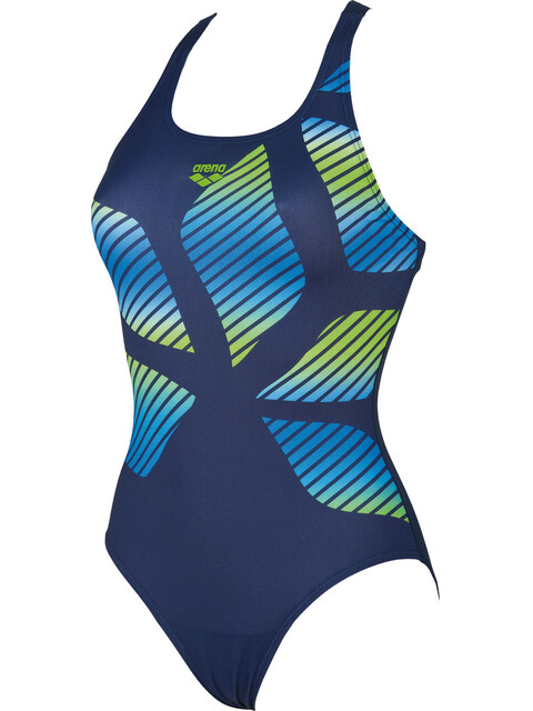 arena Spider Placed One Piece Swimsuit Women navy-leaf